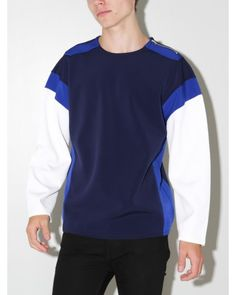 poly poly pullover navy white