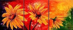 famous acrylic paintings | Daisies oil painting on canvas impressionist artists 3 panel wall art ...