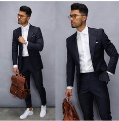 Monochrome business casual inspiration with a black suit white button up shirt white pocket square no show socks white stan smith sneakers brown leather backpack Stylish Mens Outfits, Casual Outfits, Men Casual, Mode Lookbook, Fashion Lookbook, Mode Masculine, Mens Fashion Suits, Mens Suits, Outfit Hombre Formal