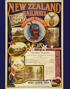 New Zealand Railways Vintage Advertisment Poster - Giclee Art Print by RosiesVintagePrints Billy Idol, Johann Wolfgang Von Goethe, History Online, Nz History, Local History, Tourism Poster, Poster Design, Graphic Design, Railway Posters