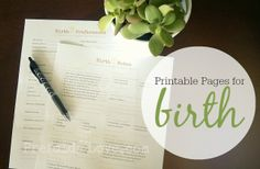 Downloadable Birth Preferences and Relaxation Notes