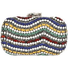Corto Moltedo Women Susan Colored Stones Clutch (9.345 RON) ❤ liked on Polyvore featuring bags, handbags, clutches, multicolor, multi color purse, multi color handbag, long strap purse, clasp purse and colorful clutches