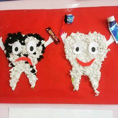 tooth craft for preschool - Todo Sobre La Salud Bucal Kids Crafts, Toddler Crafts, Dentist Art, Dental Health Month, Oral Health, Health Activities, Hygiene, Preschool Activities, Junk Drawer