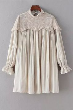 Pleated Lace Spliced Mock Neck Solid Color Dress
