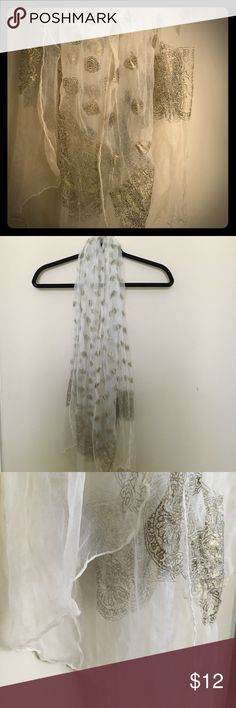 Bohemian gold printed scarf Chiffon scarf with gold border design. Long flowy and completes every outfit. Accessories Scarves & Wraps