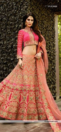 Buy wedding Flares Red Georgette Embroidered Lehenga online in India at best price.Find out designer peach and hot pink bridal lehenga in satin fabric. Get an amazing collection of designer Lehenga Choli Designs, Ghagra Choli, Sharara, Salwar Kameez, Pink Bridal Lehenga, Pink Lehenga, Indian Lehenga, Pakistani, Indian Wedding Outfits