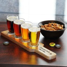 "Custom Beer Flight Sampler, 1HX3W, TAN by Home Decorators Collection. $56.00. 3.5""H x 14.5""W x 0.25""D.. The Custom Beer Flight Sampler features a customizable wooden paddle with four mini pilsner glasses. Great for the beer hobbyist, this beer flight is an easy way to provide samples of beer, from homebrews to microbrews. Personalize with two custom lines (18 characters maximum per line). Pilsner glasses hold 5 oz. Refined naturally-finished wood paddle. Actual size is 1HX3W"