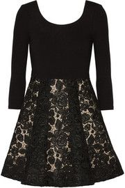 Alice + Olivia Amie stretch-crepe and guipure lace mini dress