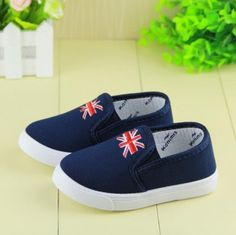 Baby Boy Casual Shoes - Dark Blue Children Shoes, Kids Walking Shoes, Designer Formal Footwear, Baby Fancy Booties in Union Jack Print for 1st Birthdays, Weddings & Party Wear Size ( 2-8 Years Old Baby Boy )