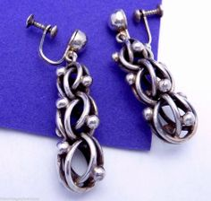 Vintage Modernist Antonio Pineda Taxco Mexican 970 Silver Dangle Earrings 19136 #Jewelry #Vintage #Antique