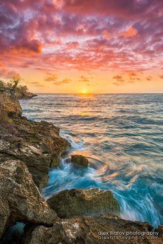 Mahaulepu Sunrise ~by Alex Filatov |  remote, rugged Mahaulepu Beach at sunrise, Kauai, Hawaii