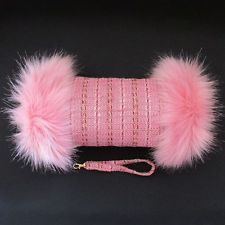 Linton Tweed Pink Weave Pink Fur Trimmed Vintage Look Hand Muff Warmer Gloves