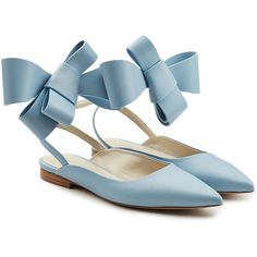 Delpozo Leather Bow Ballerinas (£455) ❤ liked on Polyvore featuring shoes, flats, blue, blue shoes, pointy-toe flats, ballet shoes, blue leather flats and blue ballet flats