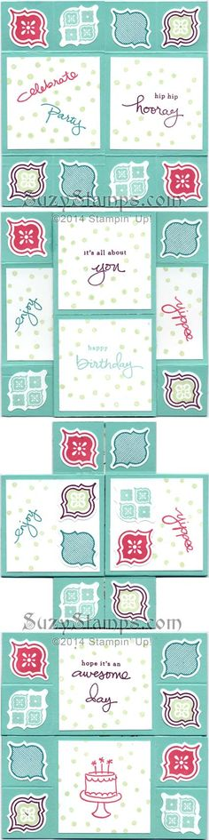 Stampin' Up! Cards - 2014-06 Class - Never Ending Card, Endless Birthday Wishes Photopolymer and Mosaic Madness Stamp Sets