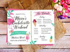 Flamingo Bachelorette Party Itinerary Invitation, Bachelorette Schedule Timeline, Summer Bachelorette Party, Bachelorette Weekend invitation