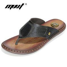 MVVT Clásicos deslizadores Del Verano hombres sandalias de cuero genuino para los hombres de calidad cómoda chanclas hombres sandalias de Playa