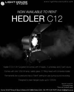 "Hedler C12 (1.2K Tungsten) kit which comes with 3 heads, 2 umbrellas and 2 barn doors    Compact and powerful, the Hedler C12 Silent tungsten head is designed to take halogen bulbs up to 1250W. It is permanently fan-cooled and has a ""Silent"" setting for use during sound recording. The Hedler C12 Silent comes with one 1250 W lamp, safety glass, C-Tilting Head with incorporated Umbrella Holder.    PRICE – AED350 for the kit per day               – Single light is AED150 each   For rental… Umbrella Holder, Safety Glass, Umbrellas, Barn Doors, Bulbs, Compact, Kit, Accessories, Design"