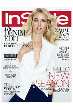Naomi Watts wearing an #EmporioArmani jacket and trousers on the cover of Instyle UK February 2015