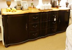 French Oak Black Sideboard