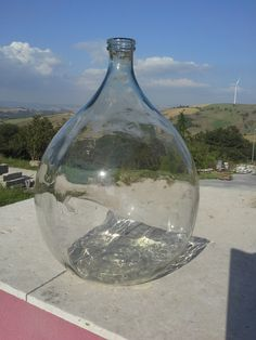 Antique glass demijohn, antique Italian carboy, antique glass bowl, glass big bottle, glass big jug di ItalianHistory su Etsy