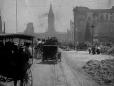 If you go to about 5:16 in on this YouTube video, you will see the aftermath of the San Francisco Earthquake of 1906, filmed on April 18th, 1906.  It is exactly the same place in the other silent film from a few weeks or days earlier.  The greyness isn't snow -- it's smoke and ash from the fires that followed the earthquake.