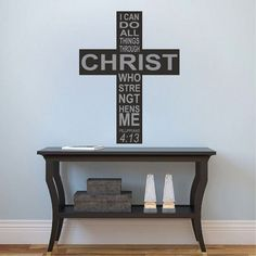 Philippians 4:13 Cross Wall Quote Decal Murals - Wall Quote Decals - Primedecals