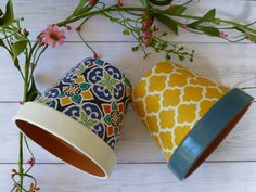 Morrocan style hand decorated plant pots