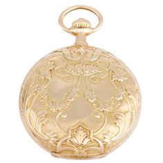 1stdibs   Patek Philippe Yellow Gold Repousse Hunter Case Pocket Watch - Patek Philippe 18k yellow gold repousse hunter case pocket watch, with manual-wind movement, cal. 18''' nickel-finished lever movement. 18k yellow gold repousse hunter case with floral and swag design to the front cover back with raised plaque (48mm diameter). White enamel dial with black Roman numerals, subsidiary seconds dial. Movement No. 128'373, Case No. 238'066, Manufactured in 1904.