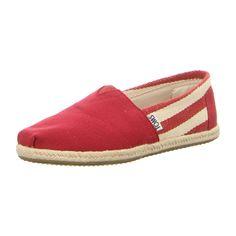 NEU: TOMS Slipper Classic - 10005421 - red stripe -