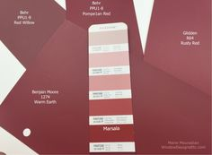 Marsala Pantone 2015 color of the year is featured. Paint and home decor in Marsala are featured. The IT color for 2015 in Central Massachusetts. Pantone 2015, Pantone Color, Marsala Pantone, Behr, Red Paint, Paint Colors, Kaki Rose, Pintura Exterior, Benjamin Moore Colors