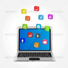 Computer with Icons Vector Illustration