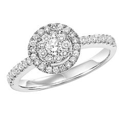 14k white gold 1/2cttw round cluster halo diamond ring