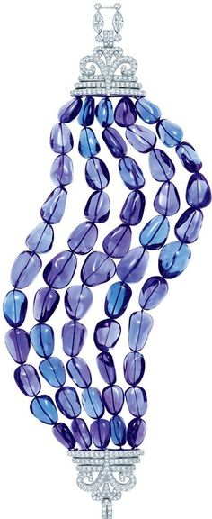 Tiffany bracelet with five rows of tanzanite beads and a clasp of diamonds and milgrained platinum, from the 2013 Blue Book Collection..♥✤ | KeepSmiling | BeStayBeautiful