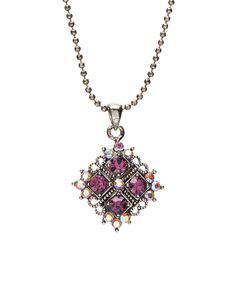 Amethyst Swarovski Elements® Crystal Pendant Necklace | zulily  . $8.99 Compare at $29.99 Product Description:  Gunmetal-plated and decorated with Swarovski Elements® crystals, this necklace lends antique-inspired style to your wardrobe.      Chain: 15'' L     Pendant: 1'' W x 1'' L     Lobster claw clasp     Gunmetal-plated brass / Swarovski Elements® crystal     Imported