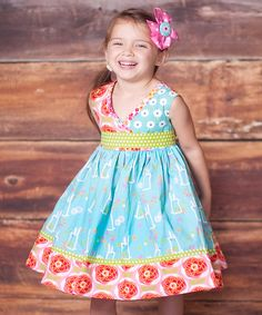 Look at this #zulilyfind! Blue & Pink Abbey Dress & Bow Clip - Toddler & Girls by Jelly the Pug #zulilyfinds