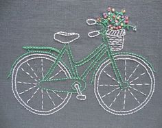 Bicycle embroidery pattern and kit - mint bike with pastel flowers on grey linen, inspired by vintage illustrations