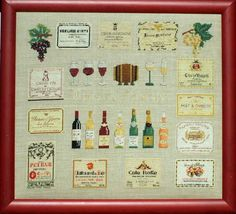 Wines of France, Les Vins de France, Counted Cross Stitch Kit, Wine Bottles and Labels, French Instructions, Laurence Roque Kit From Paris by CatBazaar on Etsy