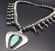NAVAJO Sterling Coin Silver MERCURY DIME Beads + Cast NAJA NECKLACE Turquoise