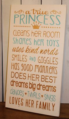 A true PRINCESS/Subway Style/Girl Sign/Girl's Decor/Gift/Crown/Ivory/Blue/Gold/Light Turquoise/Fairytale/Girl rules/Wood Sign/Princess by TheGingerbreadShoppe on Etsy https://www.etsy.com/listing/186590562/a-true-princesssubway-stylegirl