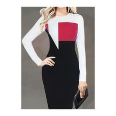 Round Neck Color Block Bodycon Dress (26 CAD) ❤ liked on Polyvore featuring dresses, red, red knee length dress, sheath dress, body con dress, long sleeve bodycon dress and color block dress