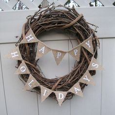 Small Christmas Banner Natural Burlap Happy by Hartranftdesign