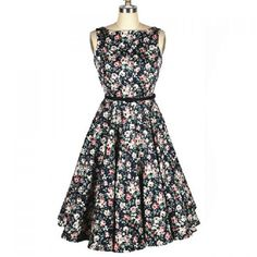 Vintage Inspired Scoop Neck Pleated Floral Print Sleeveless Country Dress. Comes with belt. Zipper closure on the side.Material: Cotton BlendSilhouette : PleatedDresses Length: Mid-CalfNeck-line: Round CollarSleeves Length: SleevelessColor: Deep Blue  Size: M Manual Measurement: BUST: 96cmWAIST: 81cmLENGHT: 109cmSHOULDER WIDTH: 35,4cm