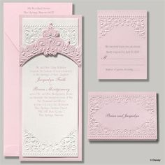 When you've been dreaming of a fairy tale wedding, you'll love waking up to the romance of this invitation inspired by Aurora, Sleeping Beauty herself!