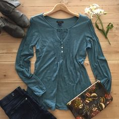 Listing | Lucky Brand Top Super soft and cute blue long sleeve top.  One small spot on sleeve.  In very gently used condition. Lucky Brand Tops