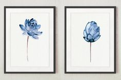 Lotus Flower Art Print Gift Idea. Floral Watercolor Painting Wall Decor. Blue Home Painting. Lotus Wall Art Abstract Illustration. A price is for the set of two different Lotus Flowers as shown on the first photo. Type of paper: Prints up to (42x29,7cm) 11x16 inch size are printed on