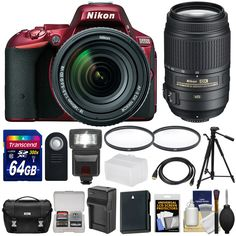 Nikon D5500 Wi-Fi Digital SLR Camera & 18-140mm VR DX AF-S (Red) with 55-300mm VR Lens + 64GB Card + Case + Battery & Charger + Flash + Tripod + Kit. KIT INCLUDES 16 PRODUCTS -- All BRAND NEW Items with all Manufacturer-supplied Accessories + Full USA Warranties:. [1] Nikon D5500 Wi-Fi Digital SLR Camera & 18-140mm VR DX AF-S Lens (Red) + [2] Nikon 55-300mm VR DX AF-S Lens + [3] Nikon Digital SLR Camera Case + [4] Spare EN-EL14/a Battery +. [5] Battery Charger + [6] Precision Design…
