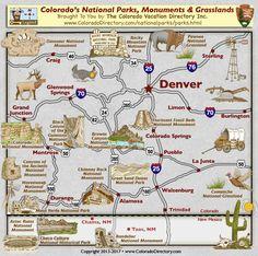 Colorado National Parks, Monuments and Grasslands Map, Colorado Vacation Directory Monument National Park, Colorado National Parks, National Parks Map, National Park Posters, Rocky Mountain National Park, Colorado Springs Camping, Road Trip To Colorado, Map Of Colorado, Colorado Cabins