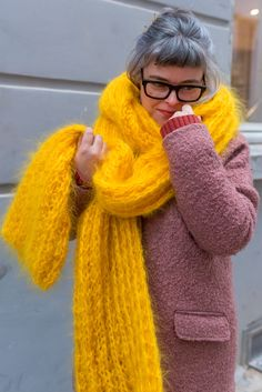 2 items Premium Mohair SCARF HOOP /& HAT hand knit Yellow Jane Rodas