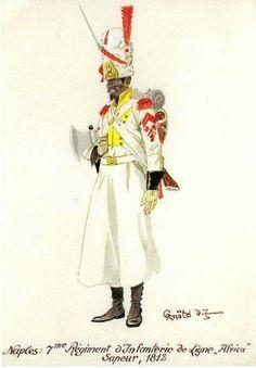 """Zappatore del 7 rgt. fanteria di linea  """"Africa"""" del regno di Napoli"""