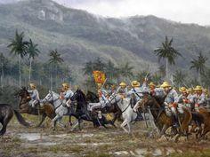 Una de la cargas de caballería dadas por el Regimiento de Voluntarios de Jaruco el 19 de febrero de 1896 contra las tropas del lugarteniente general Antonio Maceo, en la provincia de la Habana, Cuba. En esa acción participaron también los escuadrones de Talavera y Lusitania.
